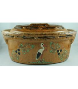 Terrine ovale individuelle - Faux bois cigogne
