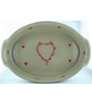 Plat ovale 47 cm - Taupe coeur rouge
