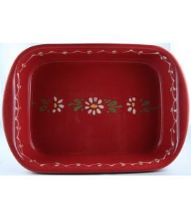 Plat à lasagne 35 cm - Rouge fleur