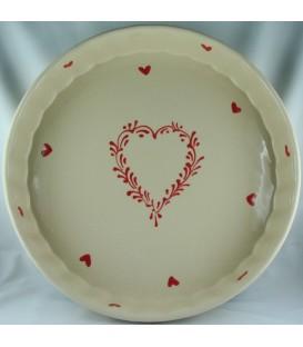 Tourtière 28 cm - Nature coeur rouge