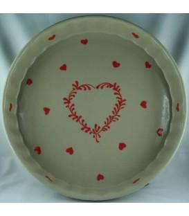 Tourtière 30 cm - Taupe coeur rouge