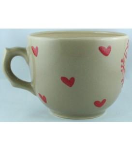 Tasse à déjeuner - Taupe coeur rouge