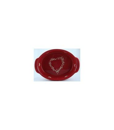 Plat ovale 21 cm - Rouge coeur nature