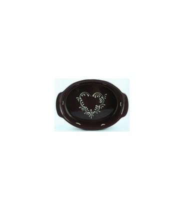 Plat ovale 29 cm - Aubergine coeur nature