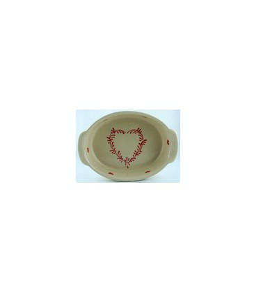 Plat ovale 29 cm - Nature coeur rouge