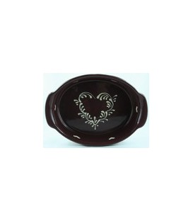 Plat ovale 34 cm - Aubergine coeur nature
