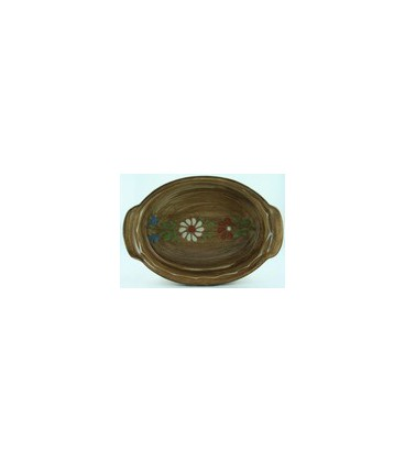 Plat ovale 34 cm - Faux bois fleur