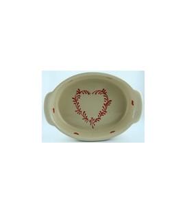 Plat ovale 34 cm - Nature coeur rouge