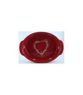 Plat ovale 39 cm - Rouge coeur nature