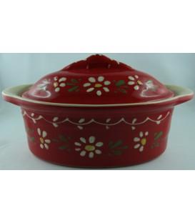 Terrine ovale individuelle - Rouge fleur