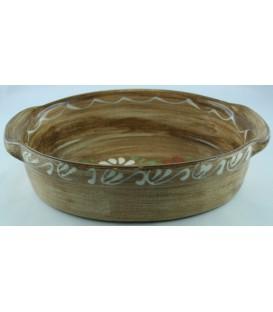 Plat ovale 47 cm - Faux bois fleur
