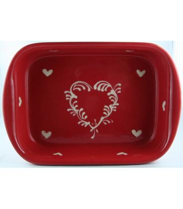 Plat à lasagne 35 cm - Rouge coeur nature