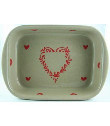 Plat à lasagne 39 cm - Taupe coeur rouge