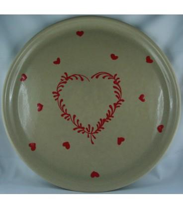 Plat à tarte - Taupe coeur rouge