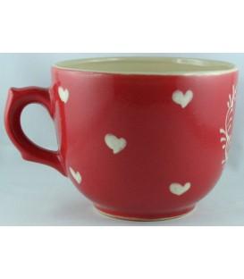Tasse à déjeuner - Rouge coeur nature