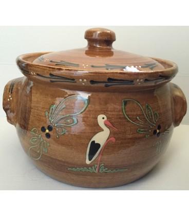 Terrine ronde - 25 cm -Faux bois cigogne