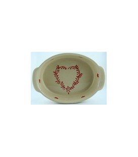 Plat ovale 34 cm - Nature coeur rouge