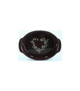 Plat ovale 39 cm - Aubergine coeur nature