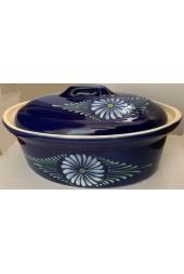Terrine ovale pour 8 à 10 personnes - Bleu fleur