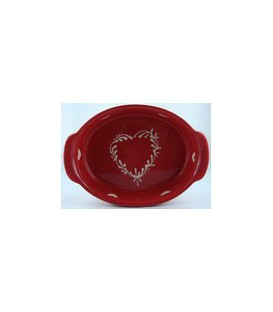 Plat ovale 39 cm - Rouge coeur nature