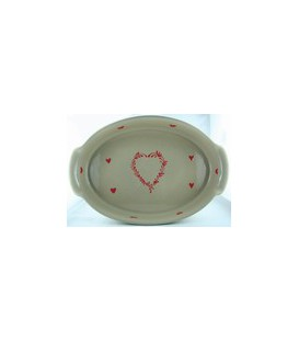 Plat ovale 39 cm - Taupe coeur rouge