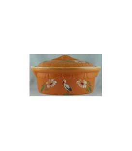 Terrine ovale pour 3 à 4 personnes - Faux bois oiseaux