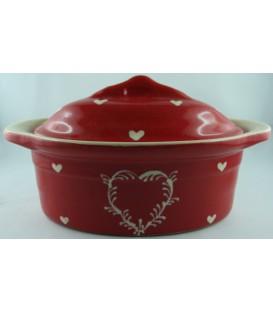 Terrine ovale miniature/verrine - Rouge coeur nature